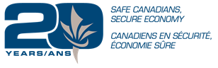 20th Anniversary logo, Safe Canadiens, Secure Economy